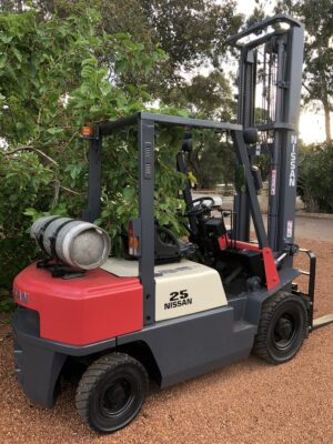 Nissan Red and White Forklift