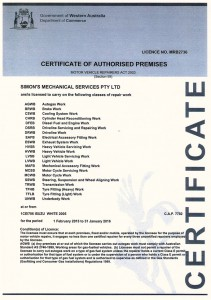 Certificate of Authorised Premises